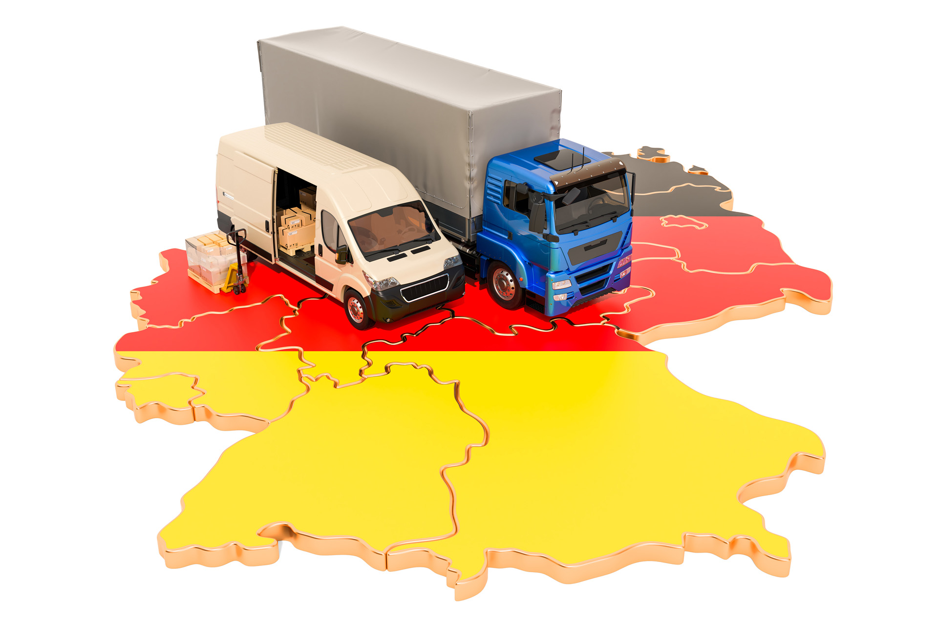 Shipping And Delivery In Germany, 3d Rendering Isolated On White